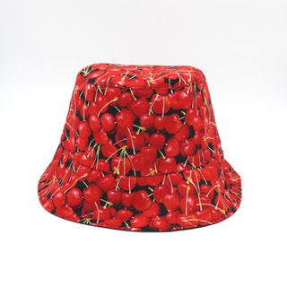 /Handmade bucket hat/ Sweet sweet cherry reversible hat