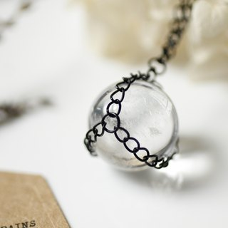 White crystal ball necklace retro neutral Unisex