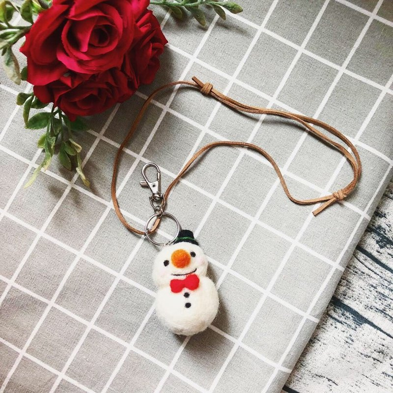 Woolfelting snowman necklace / keyring