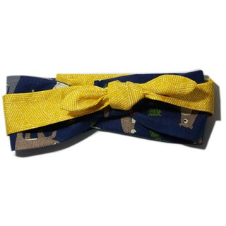 Deer Lita original design Japan imported cotton and linen hair band cute cute bear spell yellow multi-function scarf headband