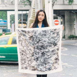Monsoon Marble Scarf- Black and White Colour