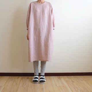 Daily hand-made suit gray pink bubble sleeve straight dress linen