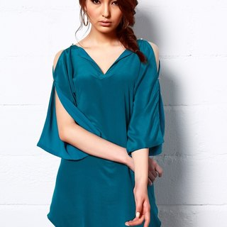 Royal Shine Silk Tunic DressIn Teal
