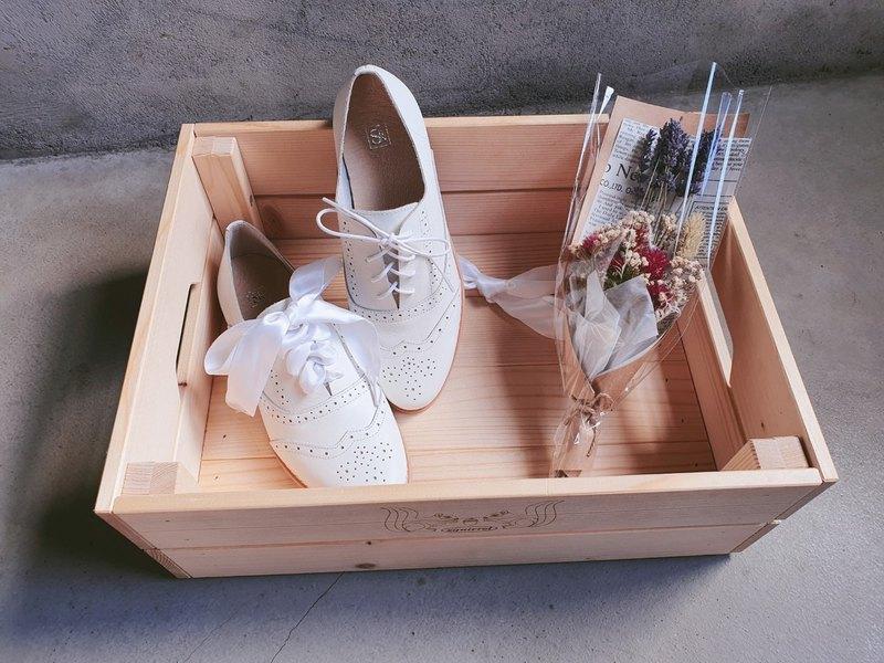 【小南法】兩穿雕花緞帶牛津鞋_ 純粹白 | 手工訂製 | MIT