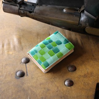 Japan Production Coloring Glass Cowhide Name Single Pouch Name One Bin Color Green made in JAPAN handmade leather card case
