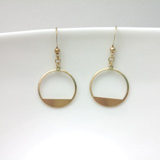 Brass earrings hollow round frame ear hook