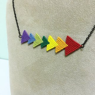 Rainbow triangle braided necklaces Rainbow Triangle Necklace (N1608JS)