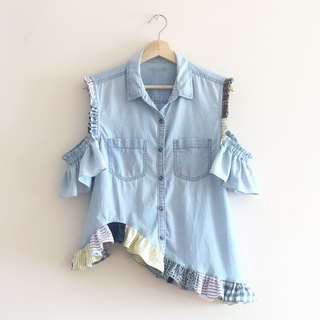 Upcycled fashion patchwork blue shirt