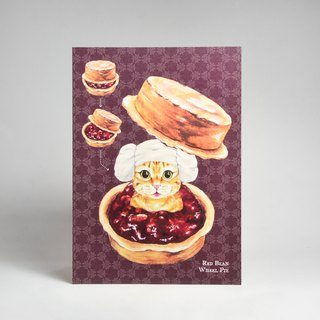 Illustrator postcard - orange cat red bean cake sand bath (can send postcards)