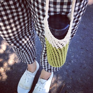 Mesh woven kettle bag beverage bag matcha milk