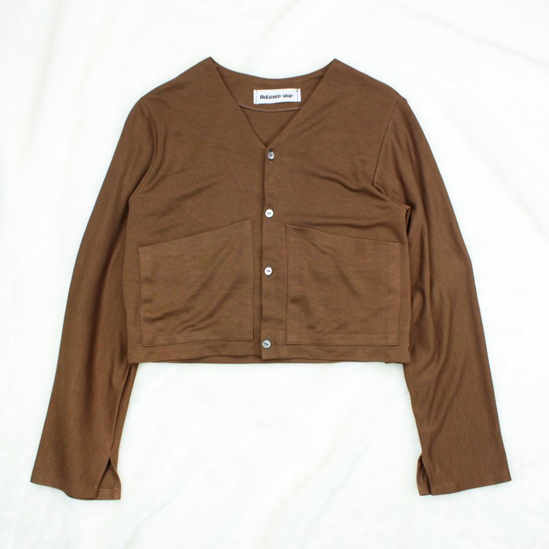 RETRO BUTTON TOP - BROWN