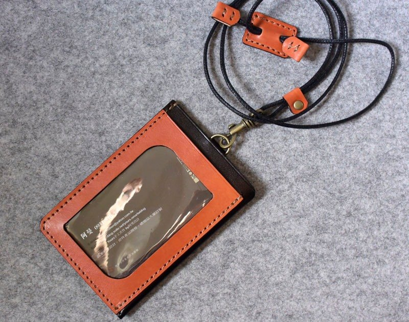 YOURS handmade leather three pocket light bulk documents folder / purse bright orange + personalized black leather (with adjustable length neck strap)