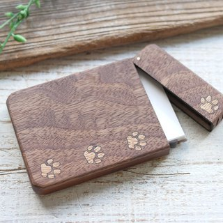 Wooden business card holder / walnut / white paw pad