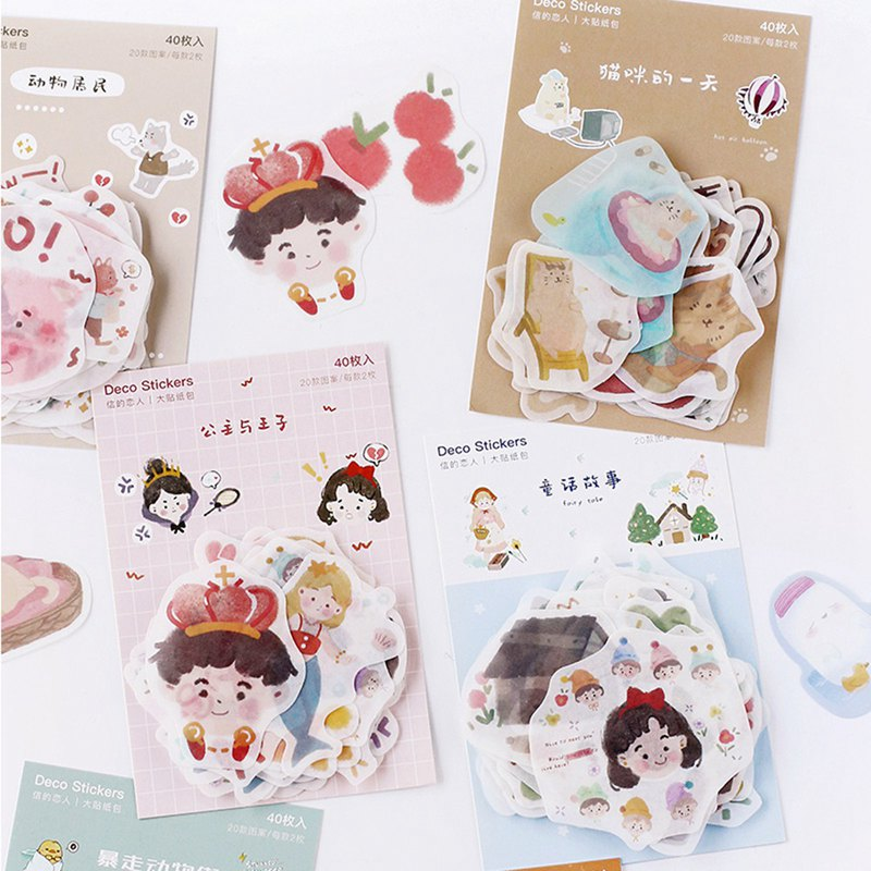 Letter of Lovers Big Sticker Pack Fairy Tales Variety Ghost Jun and Paper Handbag Decoration Art Fresh and Lovely