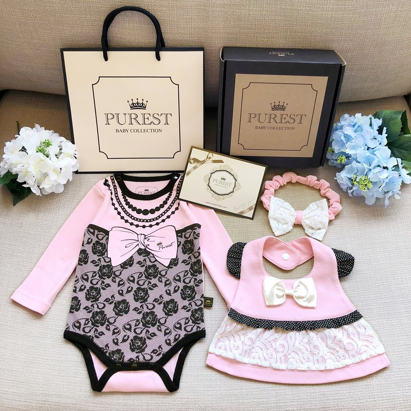 PUREST When the little lady meets the little princess's gorgeous dress/baby long-sleeved gift box group / moon gift