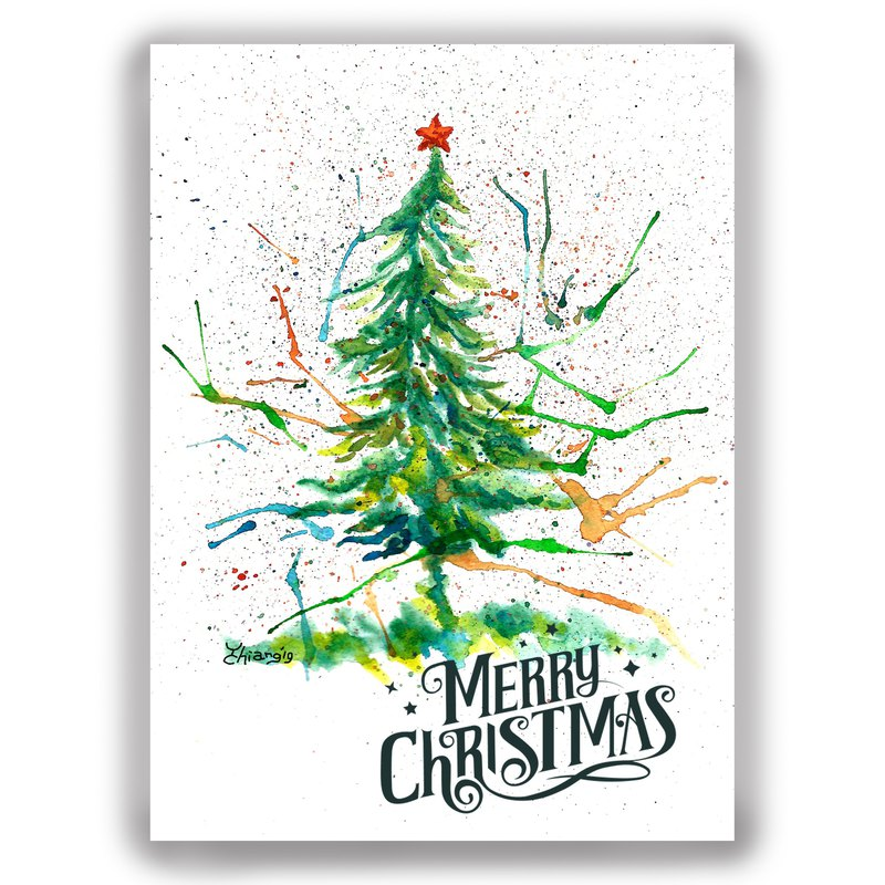 Christmas hand drawn illustration universal card Christmas card / postcard / card / illustration card - carnival Christmas tree
