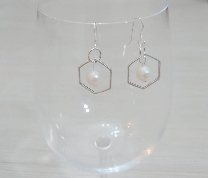 925 sterling silver earrings earrings earrings hexagonal natural pearls