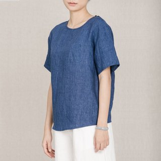 BUFU basic linen pocket shirt / blue  SH161018B