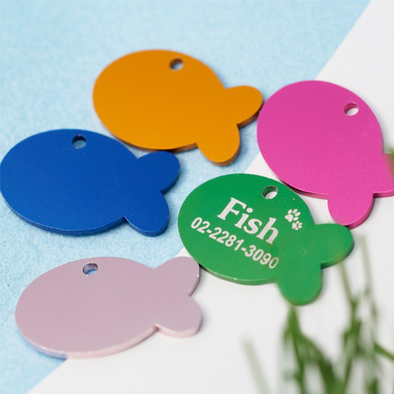 [Fulgor Jewel] Rich Dog Custom Pet Tag Dog Tag Cat Tag Free Single Side Lettering Frosted Fish