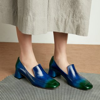 H THREE Square Loafers / Blue Green / Gradient / Loch Ness / Thick Heel / Retro