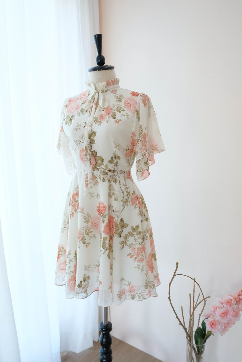 Floral white dress floral bridesmaid dress vintage cocktail wedding prom dress