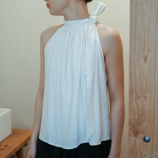 Taste | white strapless strap tie knot jacket sleeveless vest French elegant summer style heavy satin