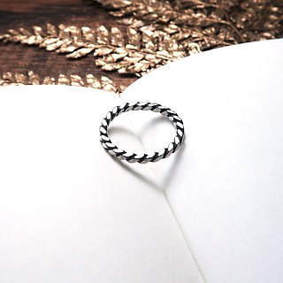 Ring Square Lattice - Black Twist Ring (Fog) Ring -64DESIGN