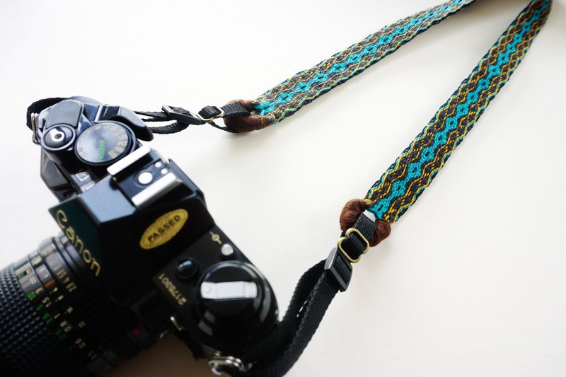 Camera strap double wide hole hand woven webbing