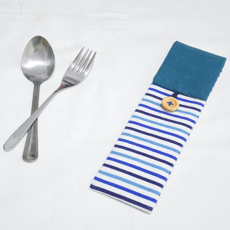 [Blue stripes hit color cutlery set - free tableware]