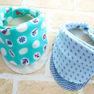 Baby Bib, Set of 2, Reversible, Bandana Bib, Japanese Cotton, Anchor, Nautical