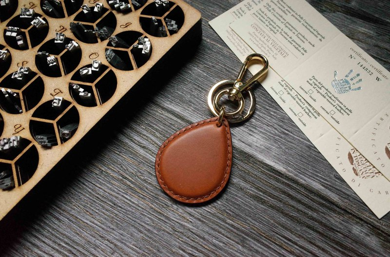 Buttero Chip Card Charm-Water Drop Shape-Brown