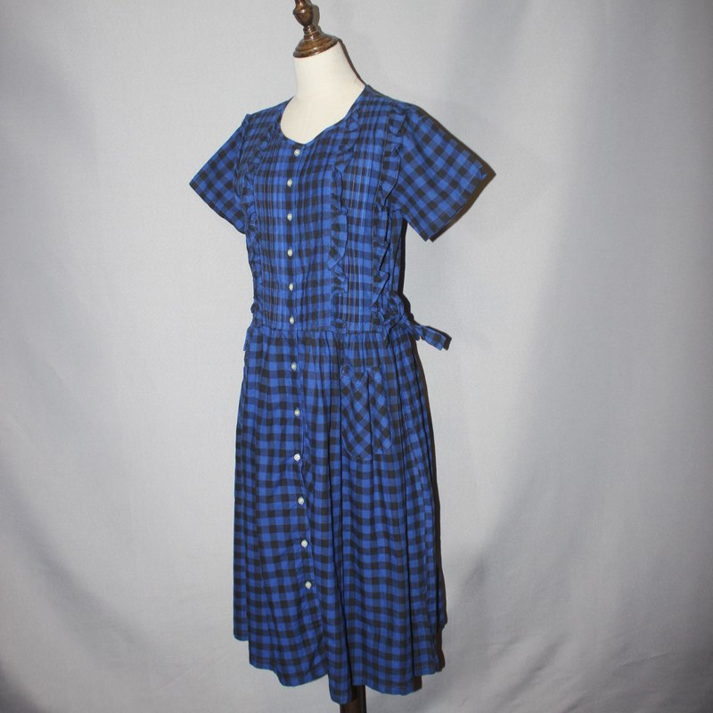 (Vintage Japanese vintage dress) black and blue check double waist strap 100% cotton dress F3588
