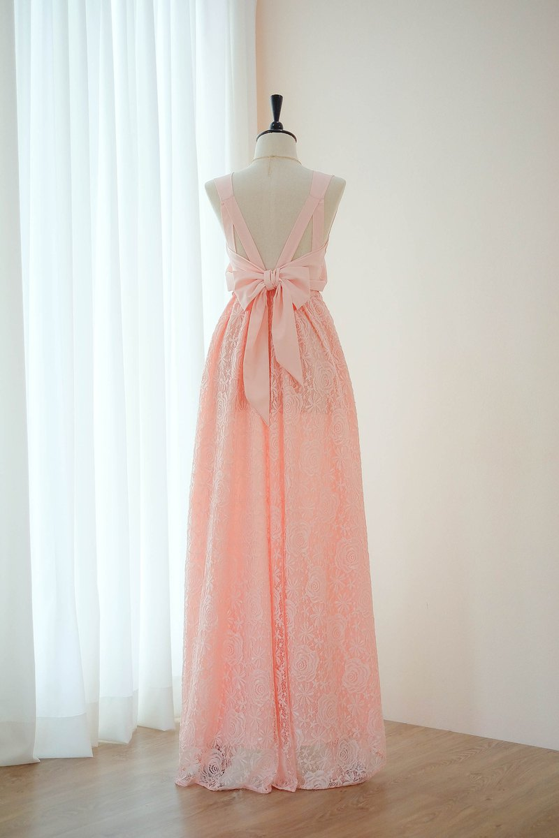 Pink blush Lace dress Bridesmaid Prom Cocktail Party Wedding Dress