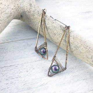 Personality Triangle Geometric Copper Wire Earrings Peacock Cotton Pearl Earrings