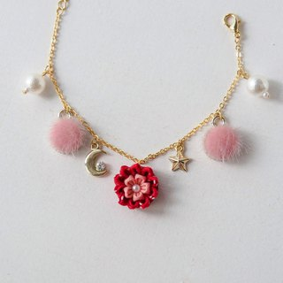 [Peony wearing moon] sweet pink small hair ball cotton pearl custom bracelet つまみ fine work