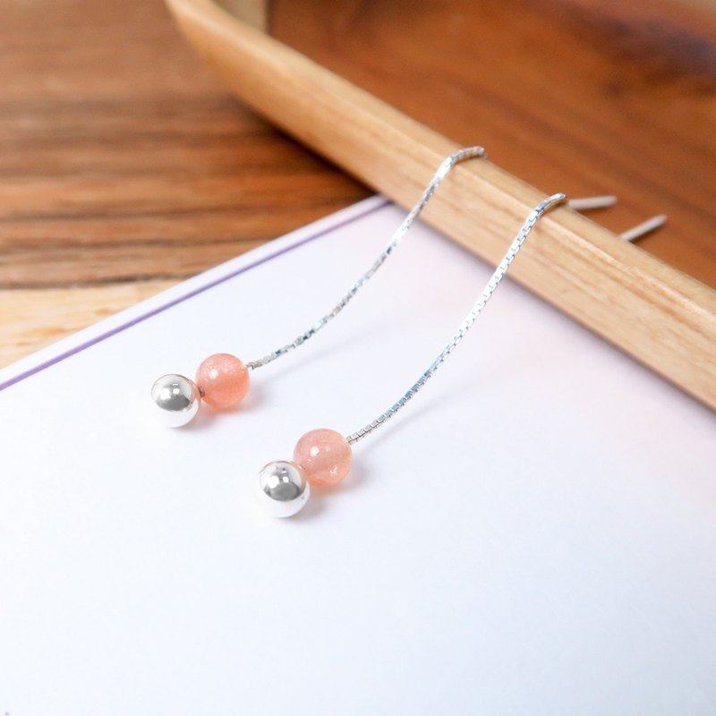 Orange Moonstone Venetian Long Chain Earrings (Small) -925 Sterling Silver Natural Stone Earrings