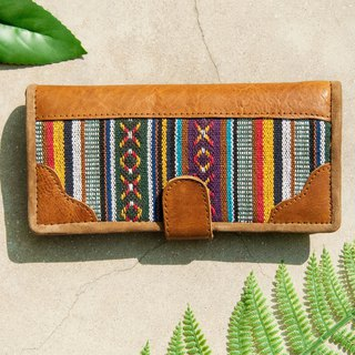 Leather wallet / woven stitching leather long clip / long wallet / purse / woven wallet - wandering at the border