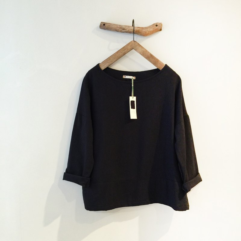 RH clothes / cotton wide eighths sleeve shirt / black