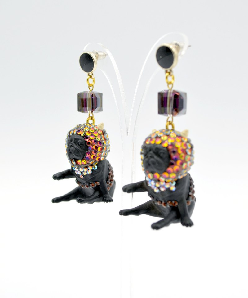 Symphony Swarovski Crystal Headgear Black Bugs Earring Dog Puppy DOG EARRING