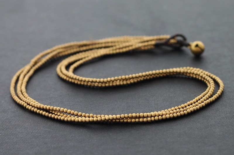 Beaded Raw Solid Brass Necklaces Woven Multi Strand Short Simple Necklaces