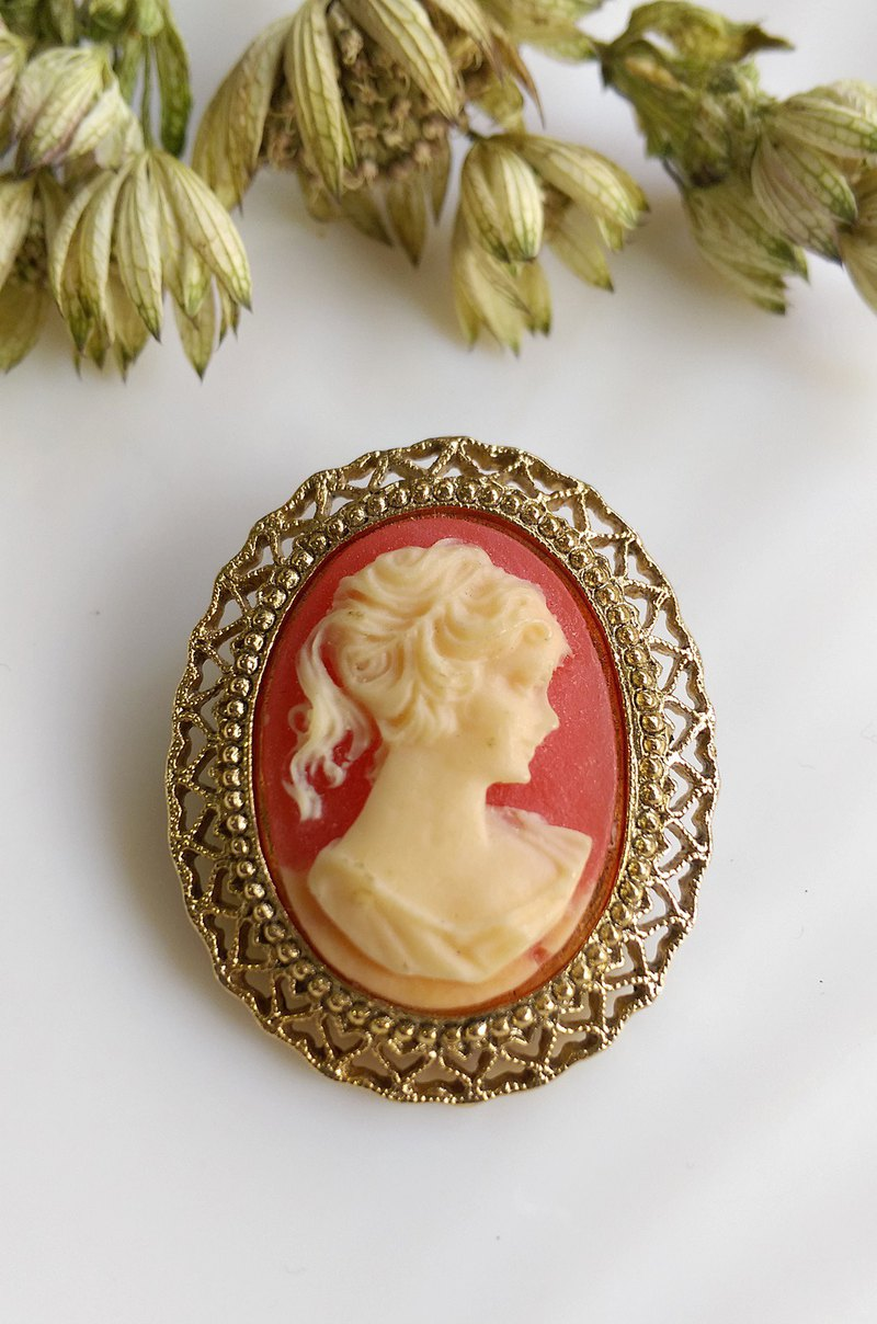 Western antique ornaments. Cameo Classic Basket Lady Embossed Pin