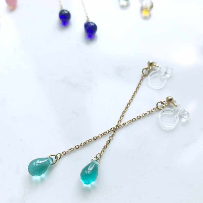 Raindrop Collection | The Droplets Earrings (Green)