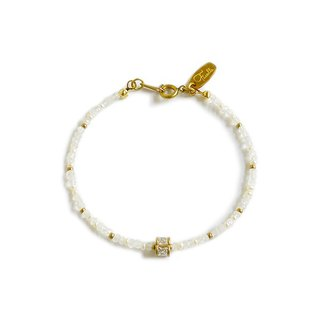 Ficelle | handmade brass natural stone bracelet | Moonstone Hydrangea Yong Worship