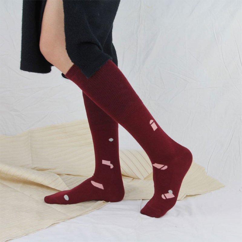 贰 Multiply by original design, men and women are not limited to fashion color positive and negative pattern combed cotton knee down stockings