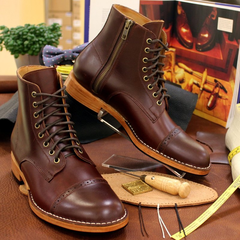HAPPY WOODS England ornaments carved zipper leather boots