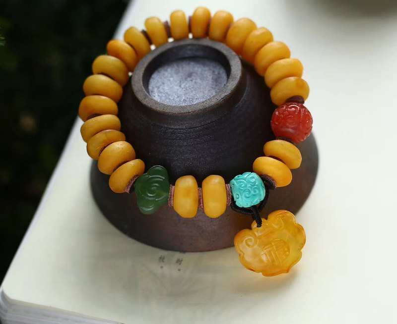 [Welfare price] collectible natural beeswax cake bracelet / with pearl south red jasper / natural beeswax Ruyi