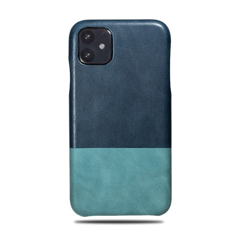 Customized blue with green bicolor leather IPHONE 11 mobile phone case