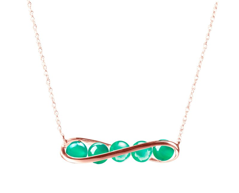 Green Onyx Necklace in Bar Horizontal Design, 14k Rose Gold Green Onyx Necklace