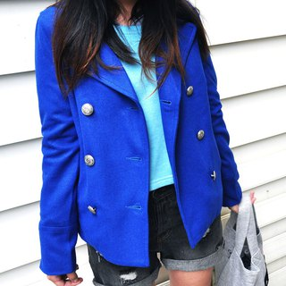Double breasted Peacoat with Large Sharp Lapels hip Length Short -Bright Blue