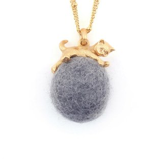 Cat Wool Felt Long Necklace_Silver Grey